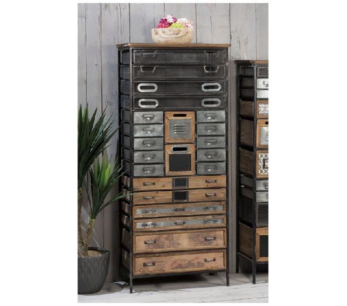 Cassettiera ferro e legno industriale nuova art.45521