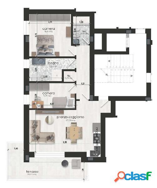 App.to di 95 mq. in palazzina nuova zona morane