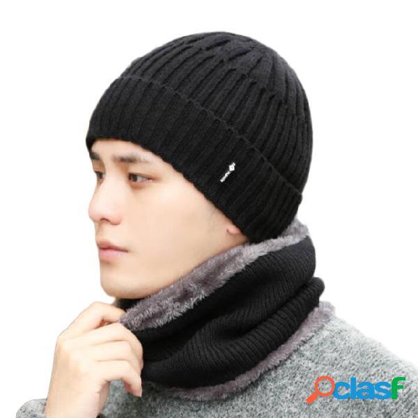 Berretti di lana cuffie da uomo sciarpa lavorata a maglia cappello bavaglino con cappuccio caldo cappellino in due pezzi