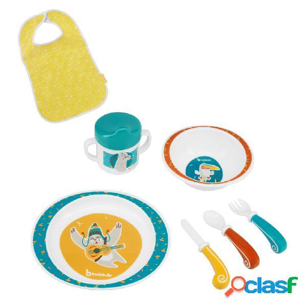 Badabulle set stoviglie per bambini 7 pz yummy blu