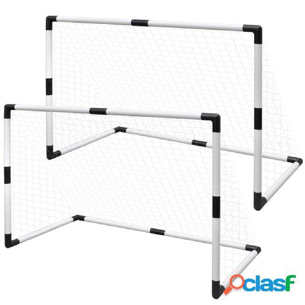 Vidaxl set mini porte da calcio 2 pz per bambini 91,5 x 48 x 61 cm