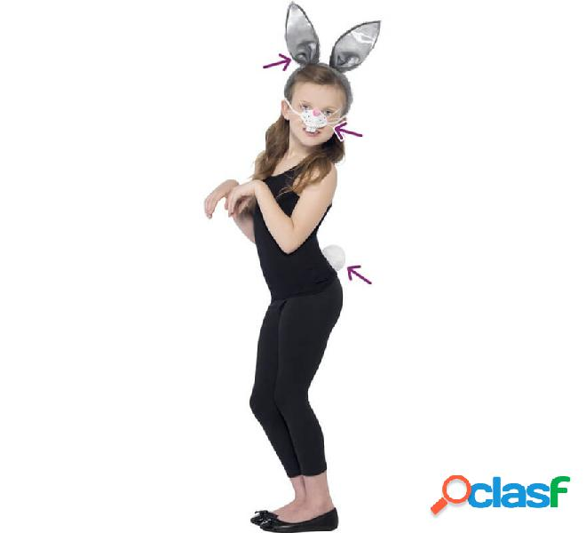 Kit coniglietto grigio: orecchie, naso e coda