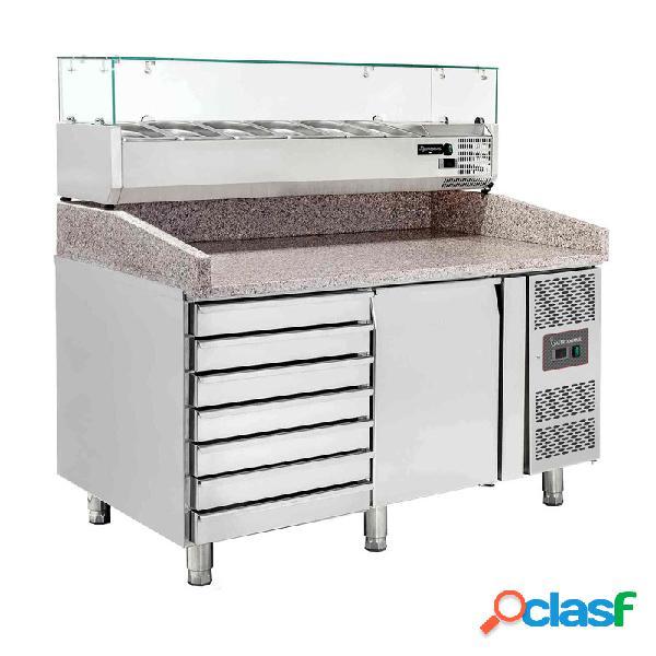Banco pizza 60x40 1 porta - 7 cassetti - vetrina predisposta per 7 bacinelle gn1/4