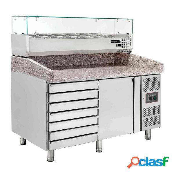 Banco pizza 60x40 1 porta - 7 cassetti - vetrina per 5 bacinelle gn1/3 + 1 gn1/2
