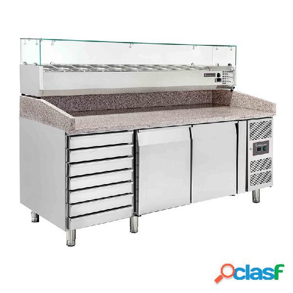 Banco pizza 60x40 con 2 porte, 7 cassetti, vetrina predisposta per 10 bacinelle gn1/4