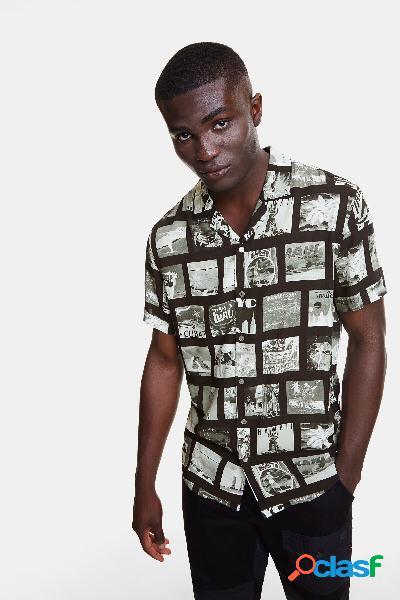 Camicia con foto-cartoline - black - l