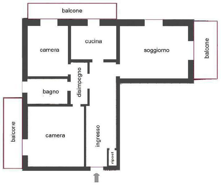 Bergamo Boccaleone, ampio trilocale con box