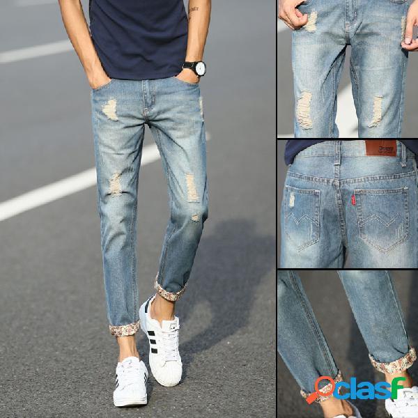 Pantaloni uomo jeans trend sottile straight hole fashion trend pantaloni