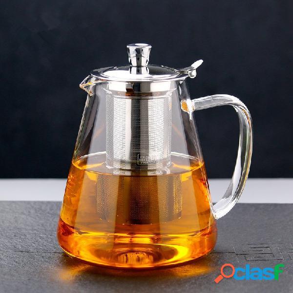 Teiera in vetro borosilicato soffiato a mano resistente al calore con infusore potenziato in acciaio inossidabile