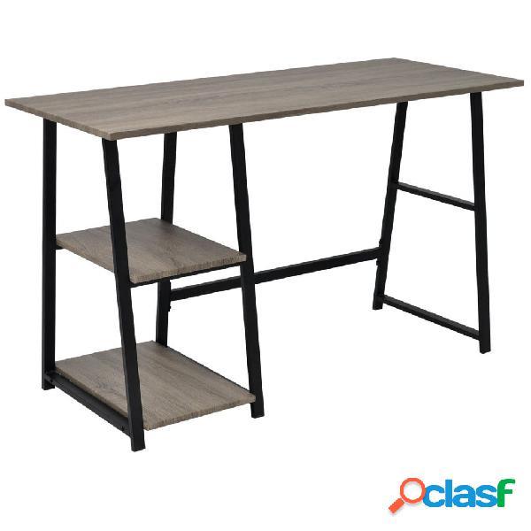 Vidaxl scrivania con 2 ripiani grigio e rovere