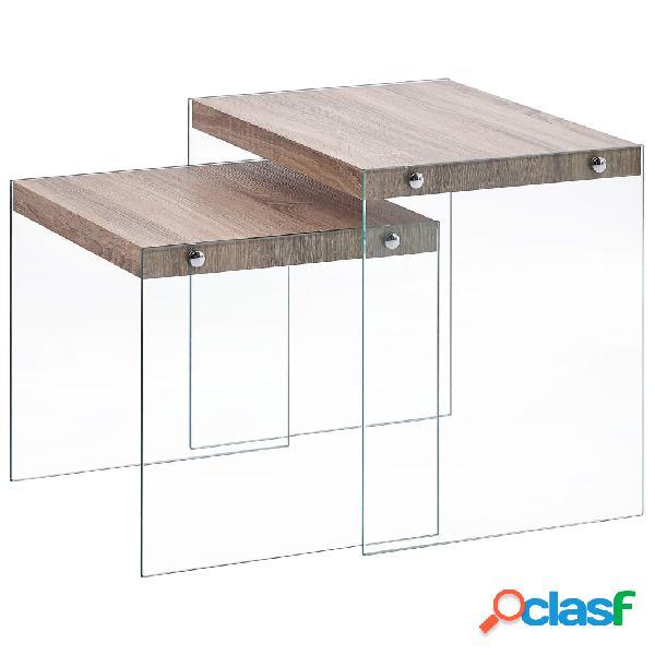 Vidaxl tavolini impilabili 2 pz rovere in mdf