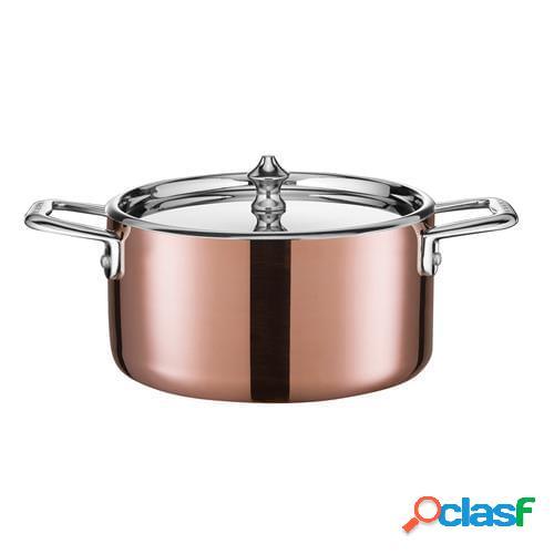 Casseruolino alto serie maitre d' copper a servire in rame con rivestimento interno, maniglie e coperchio in acciaio inox, diam. 16cm