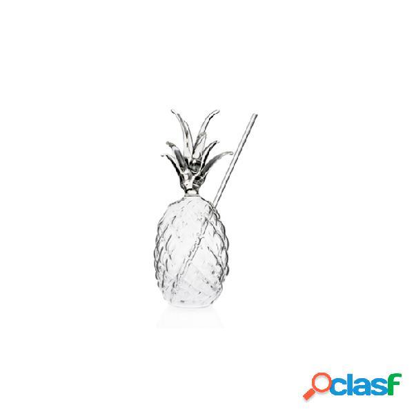 Bicchiere ananas 100% chef con cannuccia in vetro cl 30 - trasparente