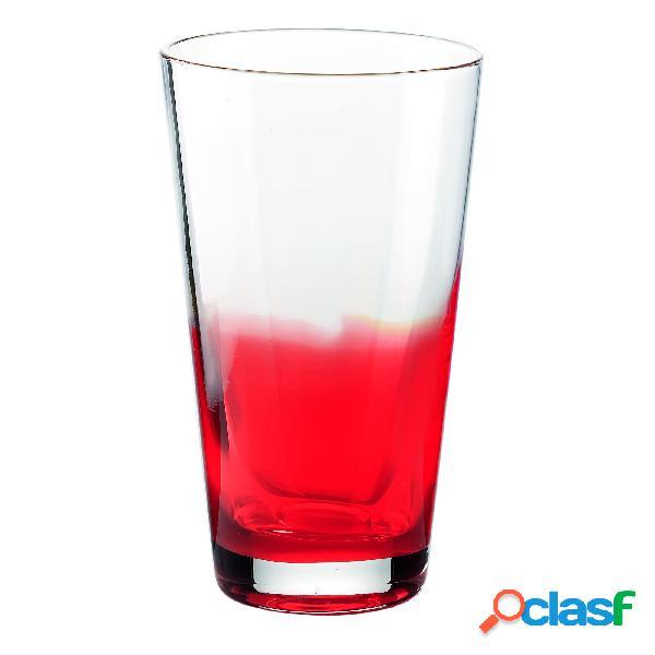 Bicchieri bibita diametro 8.5xh14.5 cm - 420 cc gocce in vetro cristallino adatto alla lavastoviglie 6 pezzi rosso