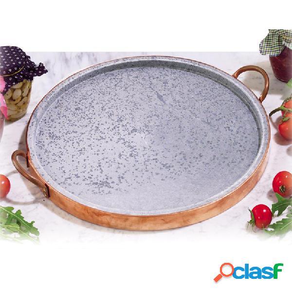 Bistecchiera in pietra ollare diametro 31 e bordo di rame indicata per cotture alla pistra. bistecche. selvaggina
