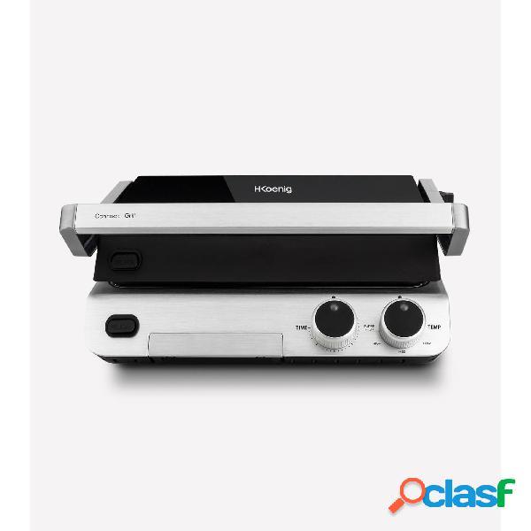 Bistecchiera barbecue grill, scalda panini superficie di cottura: 30 x 25 cm 37,6x35,5x h17 cm 2000 w altezza regolabile per tutti i tipi di alimenti acciaio inox