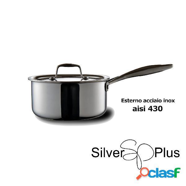 Pentola alta un manico in acciaio inox 18/10 aisi 430, ø18xh8 cm - 2,3 lt. adatta a tutti i tipi di cotture