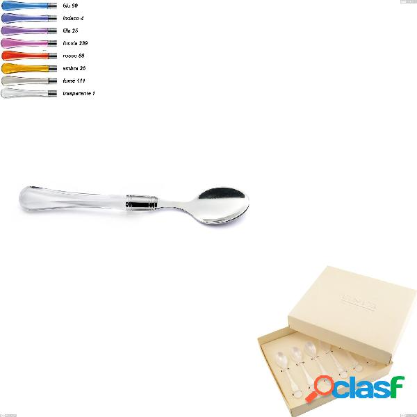 Confezione bomboniera 6 pezzi cucchiaini moka zaffiro, (acciaio 18.10 aisi304), manico in metacrilato