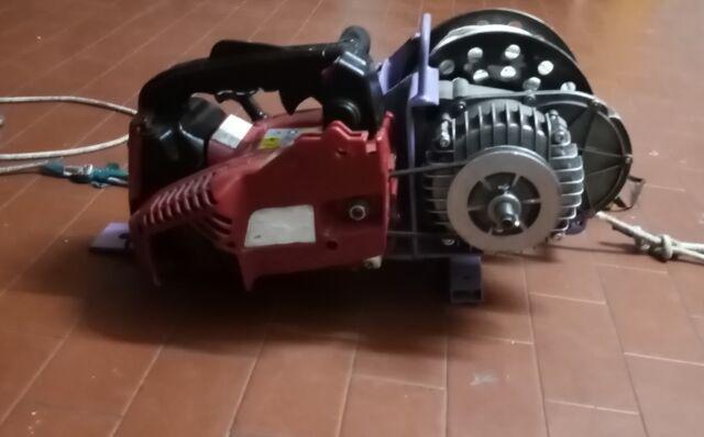 Verricello a motore portatile recupero legna o selvaggina