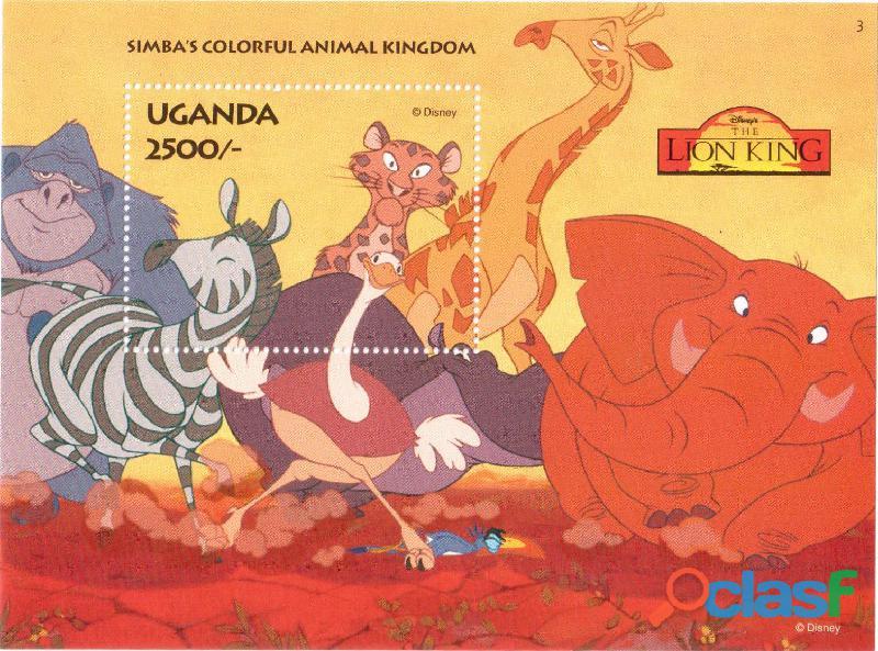6 foglietti nuovi da collezione Uganda 1