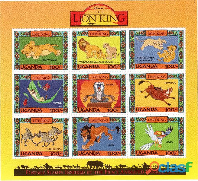 6 foglietti nuovi da collezione Uganda 3