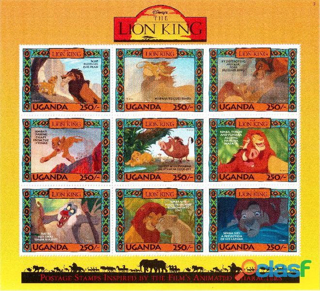 6 foglietti nuovi da collezione Uganda 5