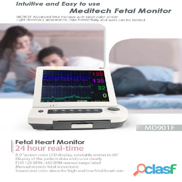 Advanced fetal monitor with large color screen,for twins ,and have 6 parameters options fetal heart 3