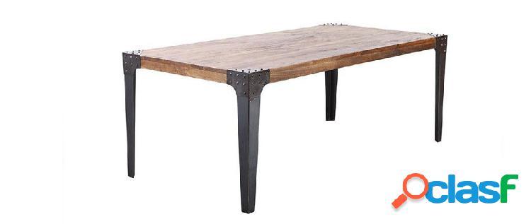 Tavolo da pranzo di stile industriale in acciaio e legno ...
