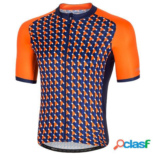 Maglia ciclismo zero rh passion (colore: arancio-blu, taglia: s)