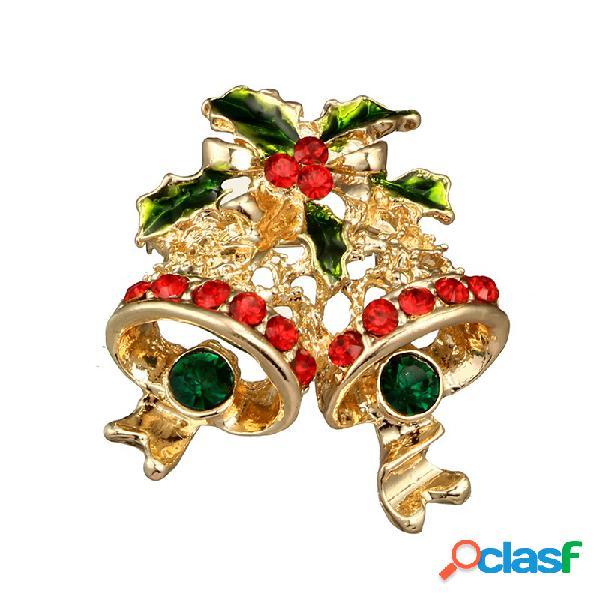 Carino natale campana spilla con strass crystal crystal maglione suit regalo distintivo per donne uomini