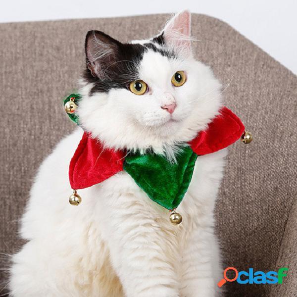 Natale collare sciarpa per animali domestici cane gatto natale campana triangolo sciarpa collare per animali domestici