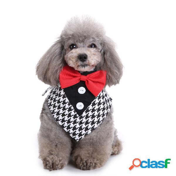 Collare bandana da smoking formale con farfallini per cani con fazzoletto da collo regolabile per la festa