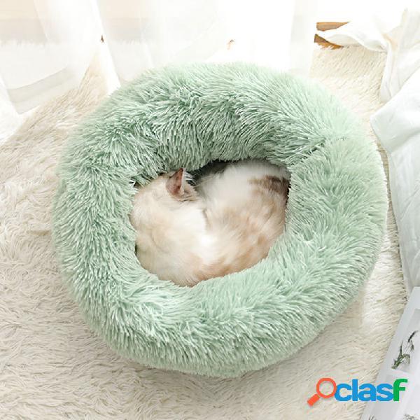 Bodiseint modern soft cuccia rotonda in peluche per gatti o cani di piccola taglia, mini cuccia per cani di taglia media auto riscaldante autunno inverno snooze da interno dormire accogliente