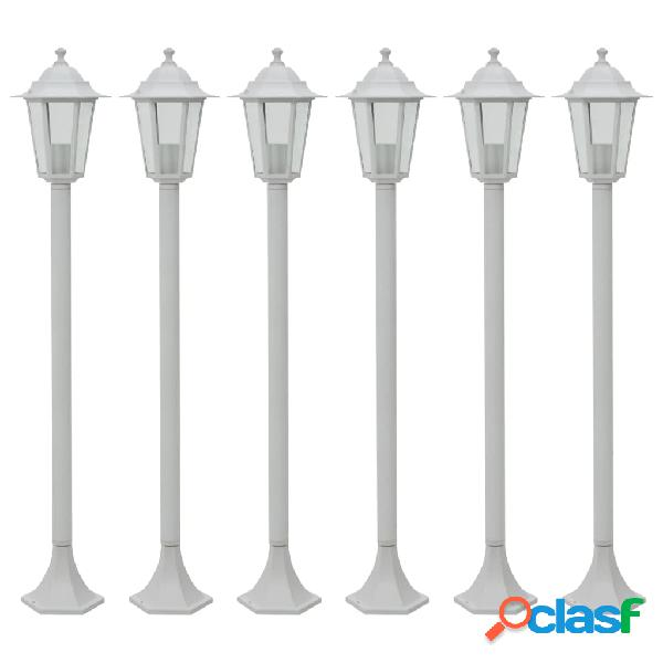 Vidaxl lampioni da giardino 6 pz e27 110 cm in alluminio bianco