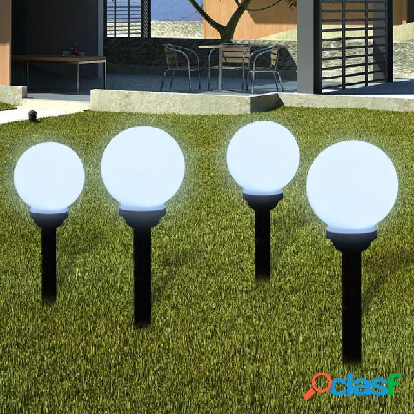 Vidaxl lampioni solari led giardino 4 pz rotondi 15 cm con picchetto