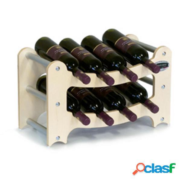 Cantinetta portabottiglie sovrapponibile in legno gradino contenuto 8 bottiglie acero