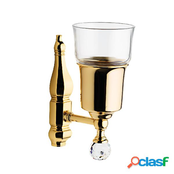 Porta bicchiere in cristallo rcr linea queen swarovski h 18x11,5x8 cm cristallo rcr e oro