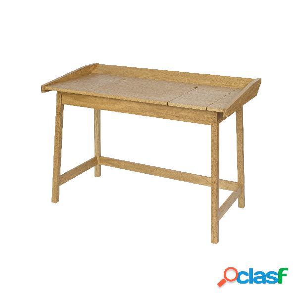 Scrivania barone flaptop in legno ingegnerizzato e massiccio, dimensioni 114 x 61 x h80 cm, peso 24 kg, finitura quercia