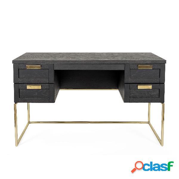 Scrivania pimlico in legno ingegnerizzato e solido, metallo, dimensioni 130 x 62 x h75 cm, peso 40 kg, finitura legno scuro, ottone