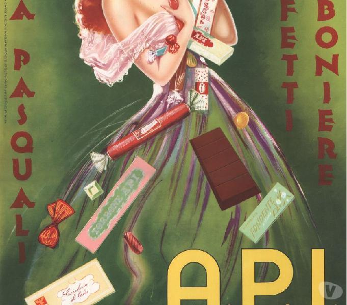 Manifesto originale a.p.i. cioccolato-torrone 50x70