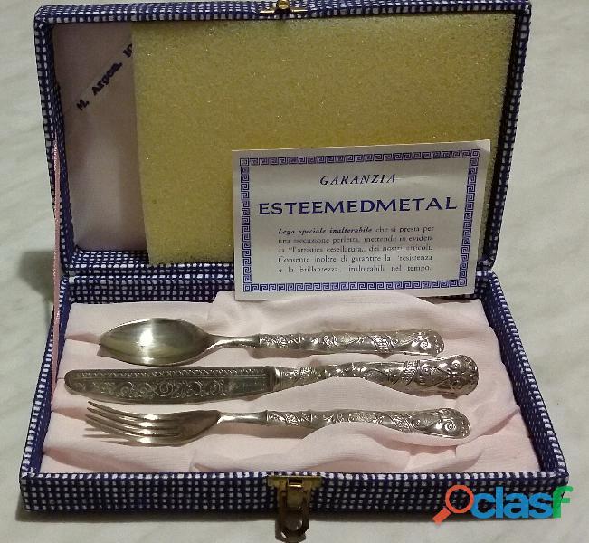 Vintage tris posate in argento 1000 lavorati con cesellatura tipo fiorentino con scatola originale