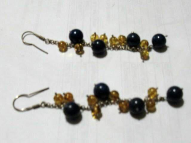 Orecchini pendenti argento boulle di lapis + ambra