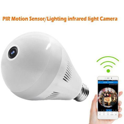 Lampadina con camera nascosta wireless ip camera 360 gradi