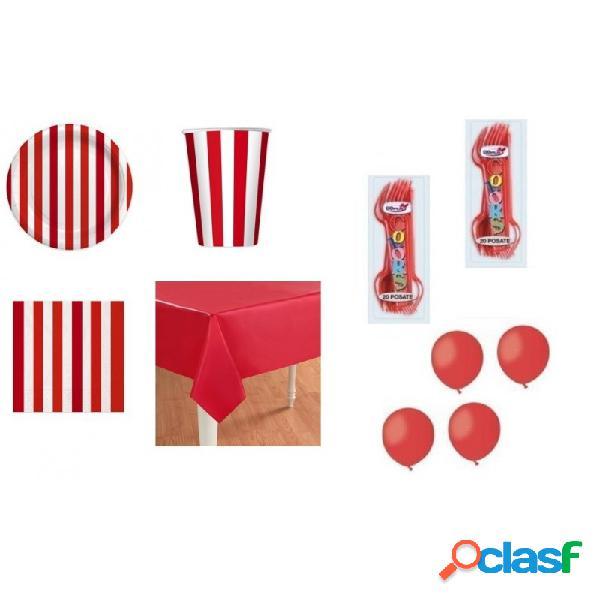 Kit 6 - 205 pz. kit compleanno strisce rosse + forchette e palloncini rossi