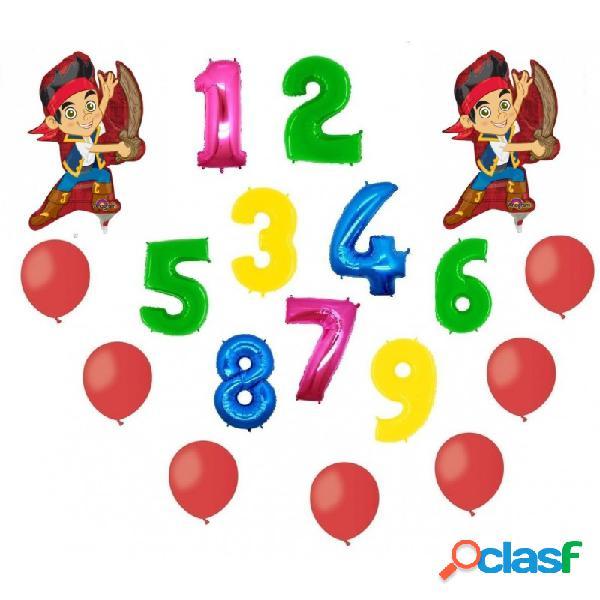 2 palloni foil jake e i pirati + 1 numero mylar colorato + 100 palloncini a50 rossi