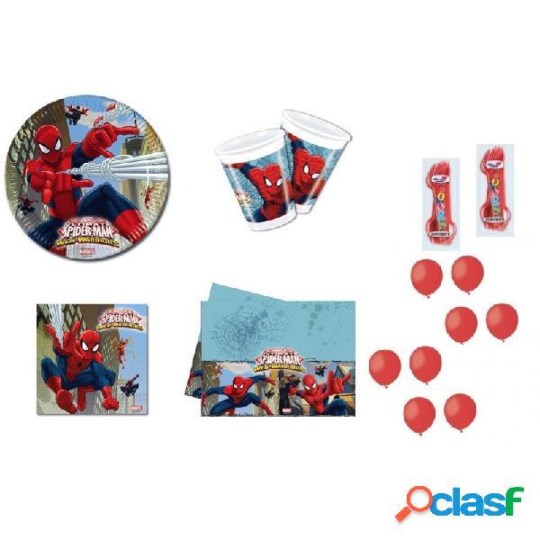 Kit 6 - coordinato tavola compleanno spiderman web warriors + forchette e palloncini rossi