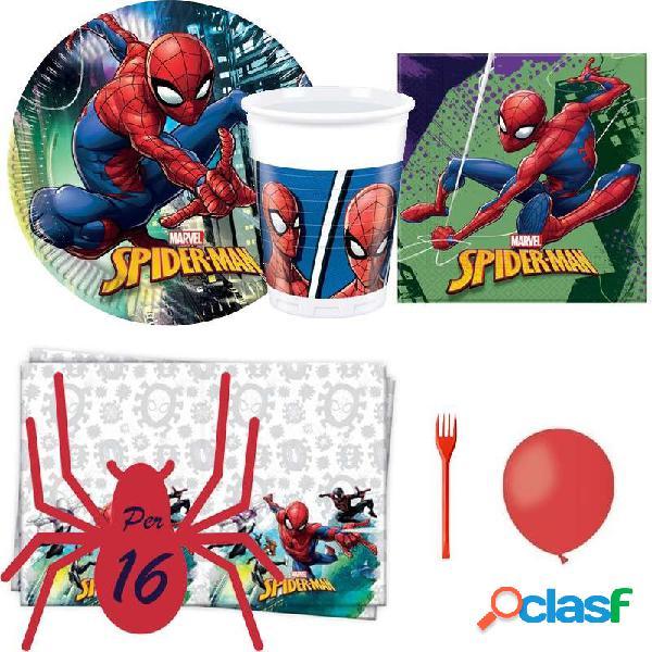 Kit n.6 spidermam - con forchette e palloncini rossi