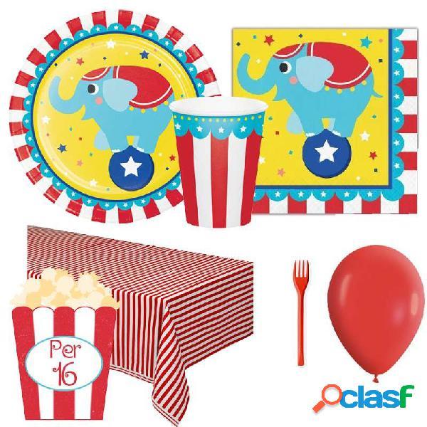 Kit 6 - 205 pz. coordinato tavola compleanno circo + forchette e palloncini rossi