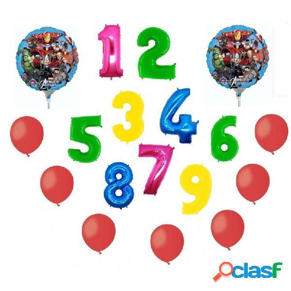 2 palloni foil avengers + 1 numero mylar colorato + 100 palloncini rossi a50