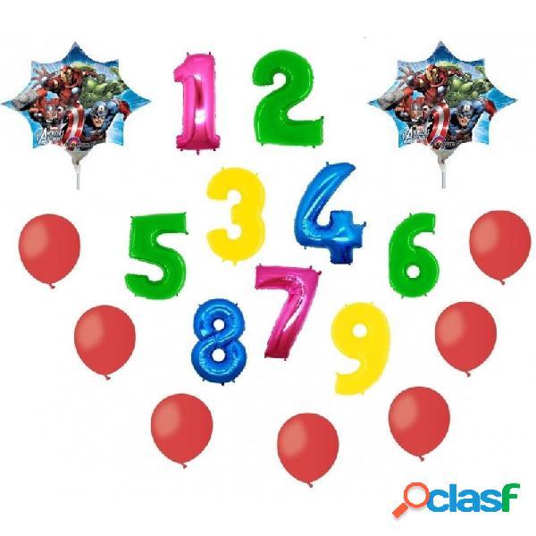 2 palloni foil stella avengers + 1 numero mylar colorato + 100 palloncini rossi a50